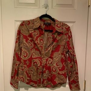 Cute red and gold patterned button up